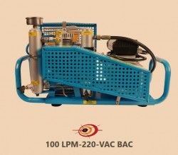 Light Industrial, Four Stage 320Bar 100 liter per minute, 220 VAC, Forced Air Cooling, Breathing Air Dive Cylinder Compressor